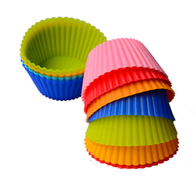 12 Pcs Silicone Baking Cup Cupcake Liners Baking Molds Muffin Cupcake Case 7.2cm