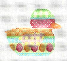 EASTER Egg Pattern Stripes Baby Duck Handpainted Needlepoint Canvas by A.Talents