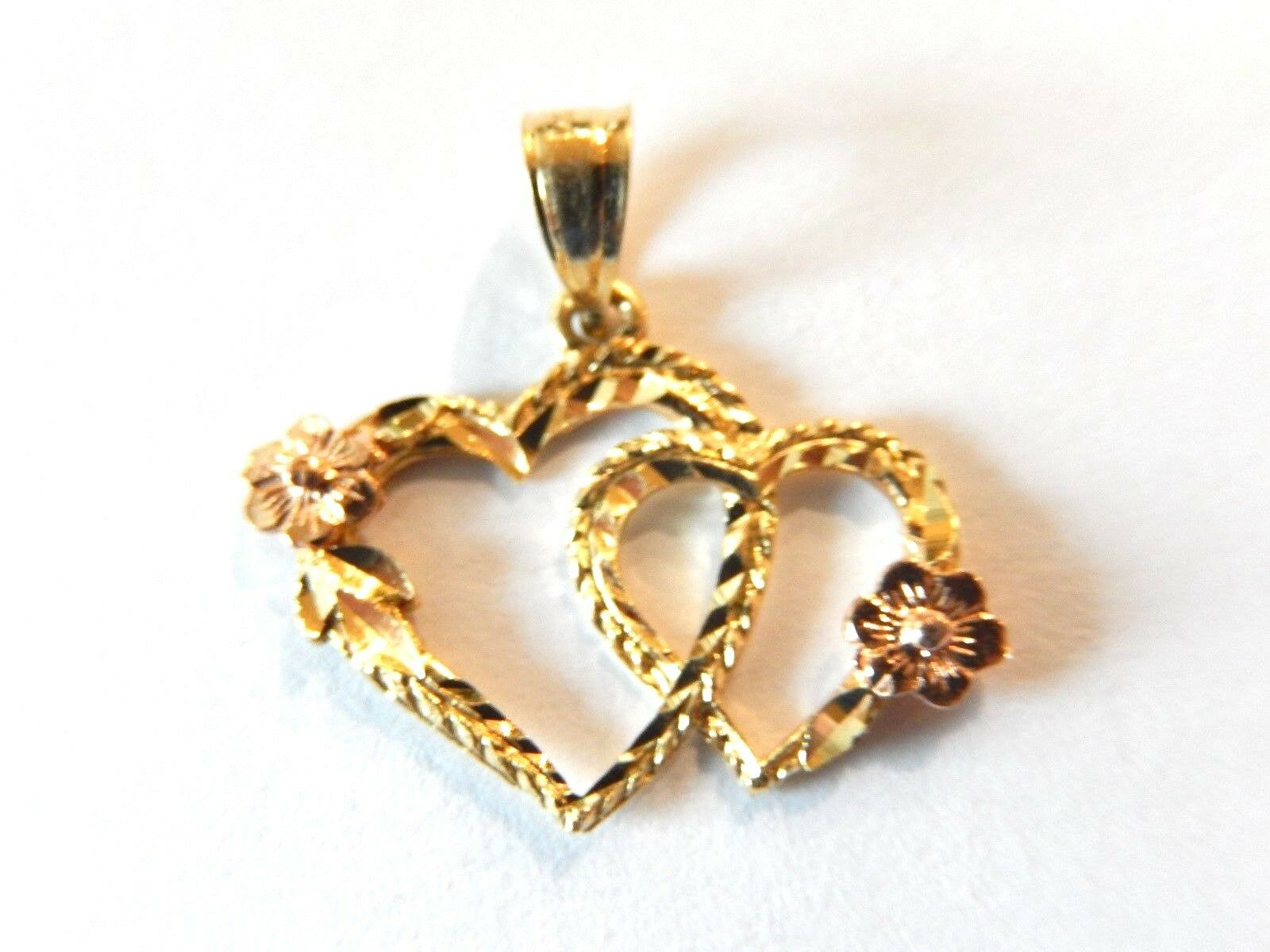 NEW 14K Yellow gold & pink gold Ladies Signed OR Double Heart Pendant