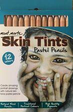 12pc Mont Marte Skin Tints Pastel Pencils Skin Tones Colored Pencils Artist
