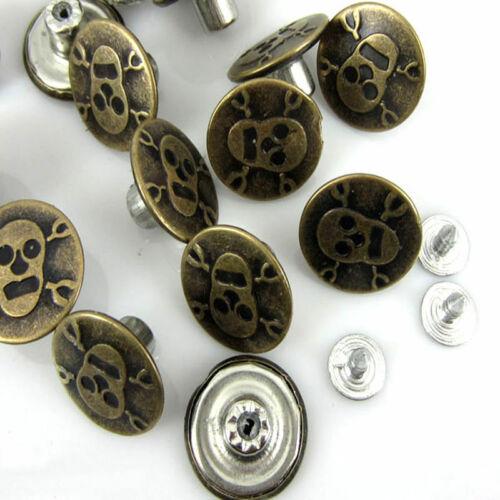 Boutons pression pour jeans vieux bronzé crâne motif en métal 50 sets 20 X 8 mm