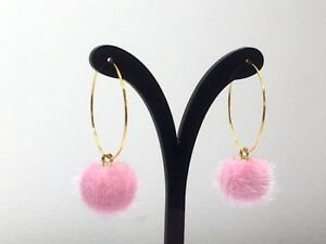 2eb3e7794 Image is loading PINK-POMPOM-HOOP-earrings-pierced-ears-gold-plated-