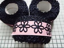 2m -Navy, Daisy Flower Motif - Applique, Trimmings,Wedding -  Satin Lace Ribbon