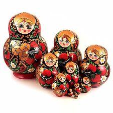 Poupée Russe 10 pièces Fraise des bois, Poupée Russe Matriochka - Khokhloma