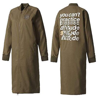 397ac753bd31 Adidas Originals Long Track Womens Jacket Zip Up Donna Olive BQ7875 OPM1