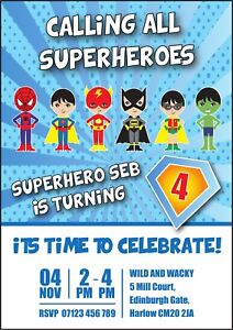 Image Is Loading BIRTHDAY SUPERHERO PARTY INVITATIONS KIDS INVITES BOY GIRL
