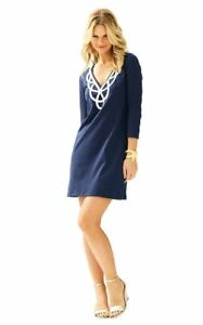 New-Lilly-Pulitzer-Blaire-T-Shirt-Dress-Solid-True-Navy-Blue-V-Neck-3-4-Sleeve