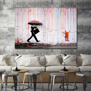 Details About New Canvas 24 X36 In Banksy Street Art Print Colorful Rain Painting Picture