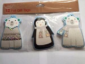 12-CHRISTMAS-BEAR-amp-PENGUIN-GIFT-TAGS-VARIOUS-DESIGNS-NEW-PRESENT-WRAPPING