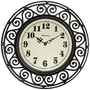 Westclox-32021-Round-Filigree-Rubbed-Clock-12-Inch-Bronze