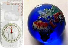 Navigate the World ! 22mm Detailed Glass Earth Globe Marble & Navigation Compass