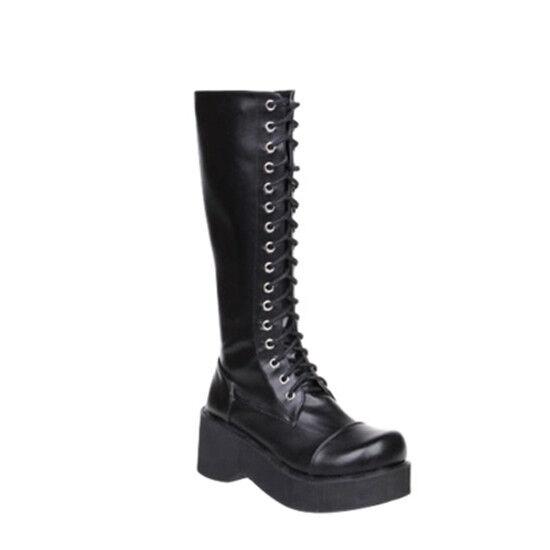 Para Mujer Medio grueso Bloque Medio Mujer Tacón Lolita la Rodilla botas Altas botas Con Cordones Media Caña Punk 7c4355