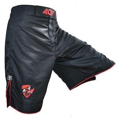 AQF MMA Fight Shorts Grappling Short Kick Boxing Cage Fighting Shorts Black