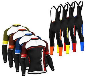 FDX-Mens-Cycling-Jersey-Winter-Thermal-Biking-Top-Cycling-Pants-Bib-tights-set
