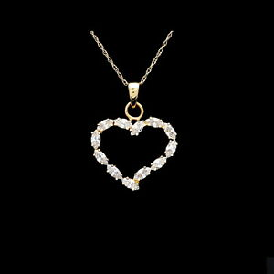 "14K Yellow Gold Fancy Interlocking Double Hearts Necklace 17+1/"" GJNK101"