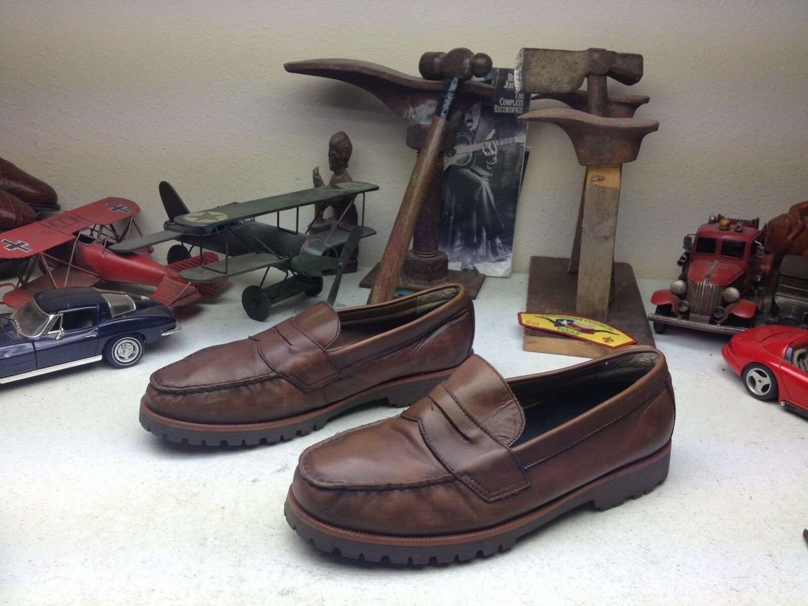 BROWN G.H. BASS FITZGERALD LEATHER SLIP ON PENNY STYLE LOAFERS 12M