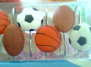 Image Is Loading NEW Set Of 12 Sports Shower Curtain Hooks