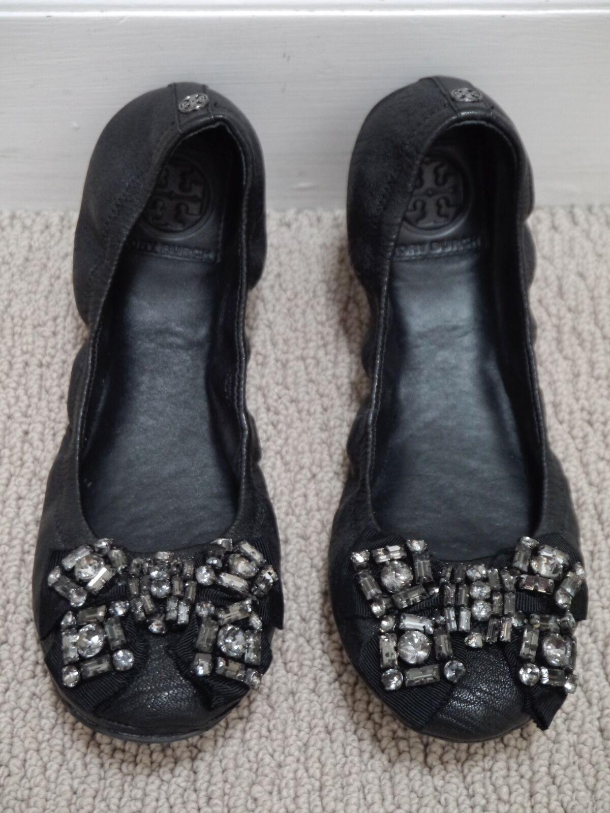 TORY BURCH  250 black leather crystal bow Azalea Eddie ballet flat 7.5 WORN ONCE