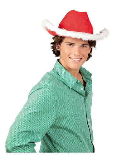 Xmas Hut Merry Texas Cowboyhut rot weiß Weihnachtsmütze