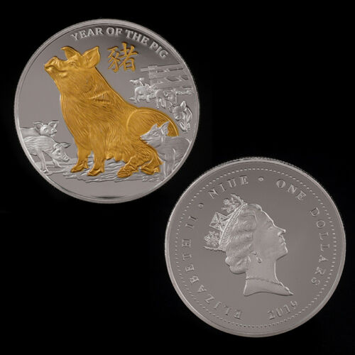 Pig Gold Plated Coin Commemorative Coins Challenge Year of Pig Good luck 2019—QY