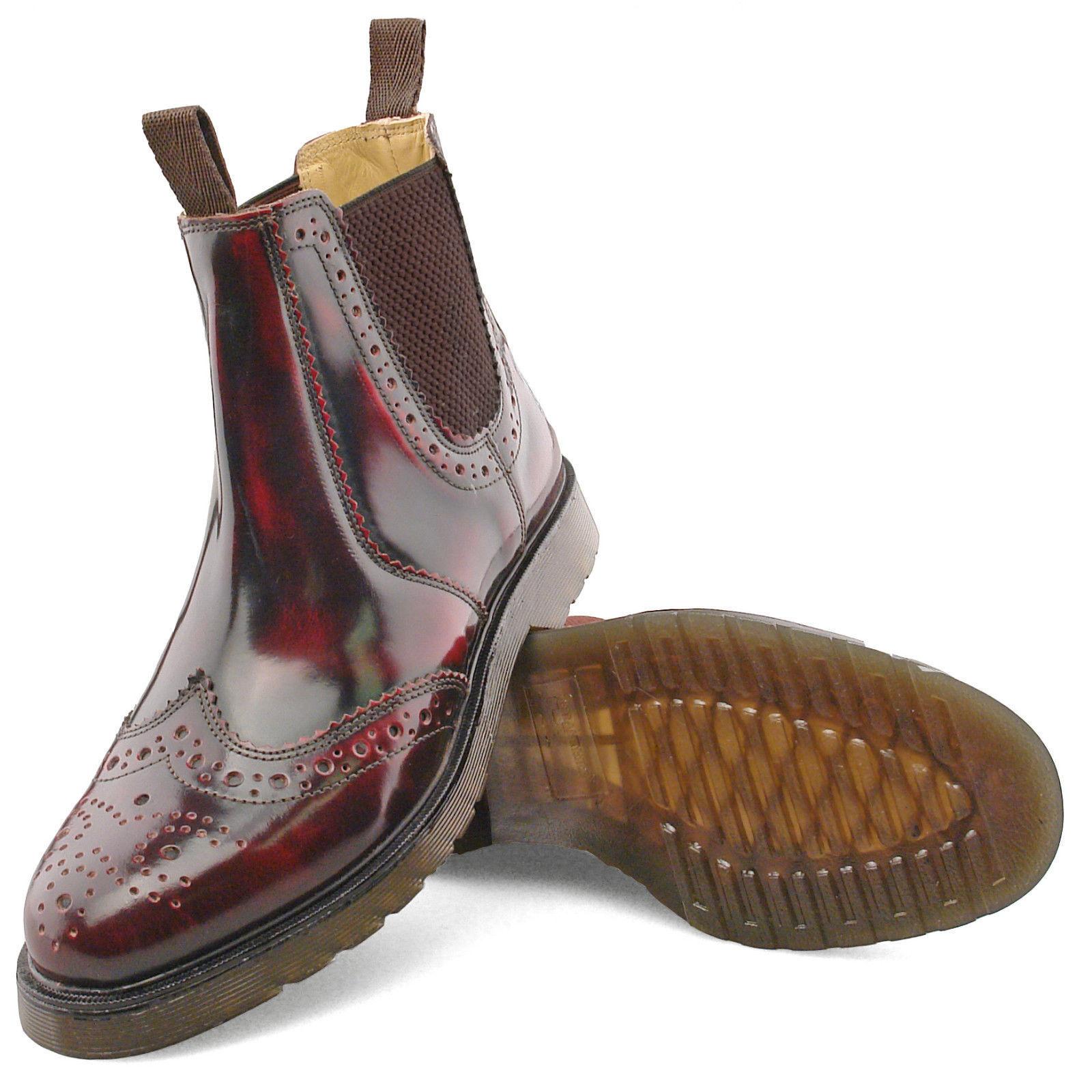 Chelsea Brogue botas, Rojo rojizo Hi Shine, Mod, SOUL, Scooter años 60 de estilo vintage y retro