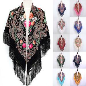 Women-Muslim-Folk-Custom-Print-Tassel-Square-Scarf-Wrap-Shawl-Travel-Scarve-CA
