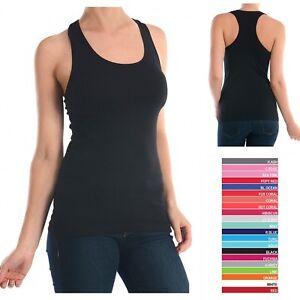 580531190c3 La imagen se está cargando S-M-L-Mujer-Algodon-Espalda-de-Nadador-Camiseta -de-