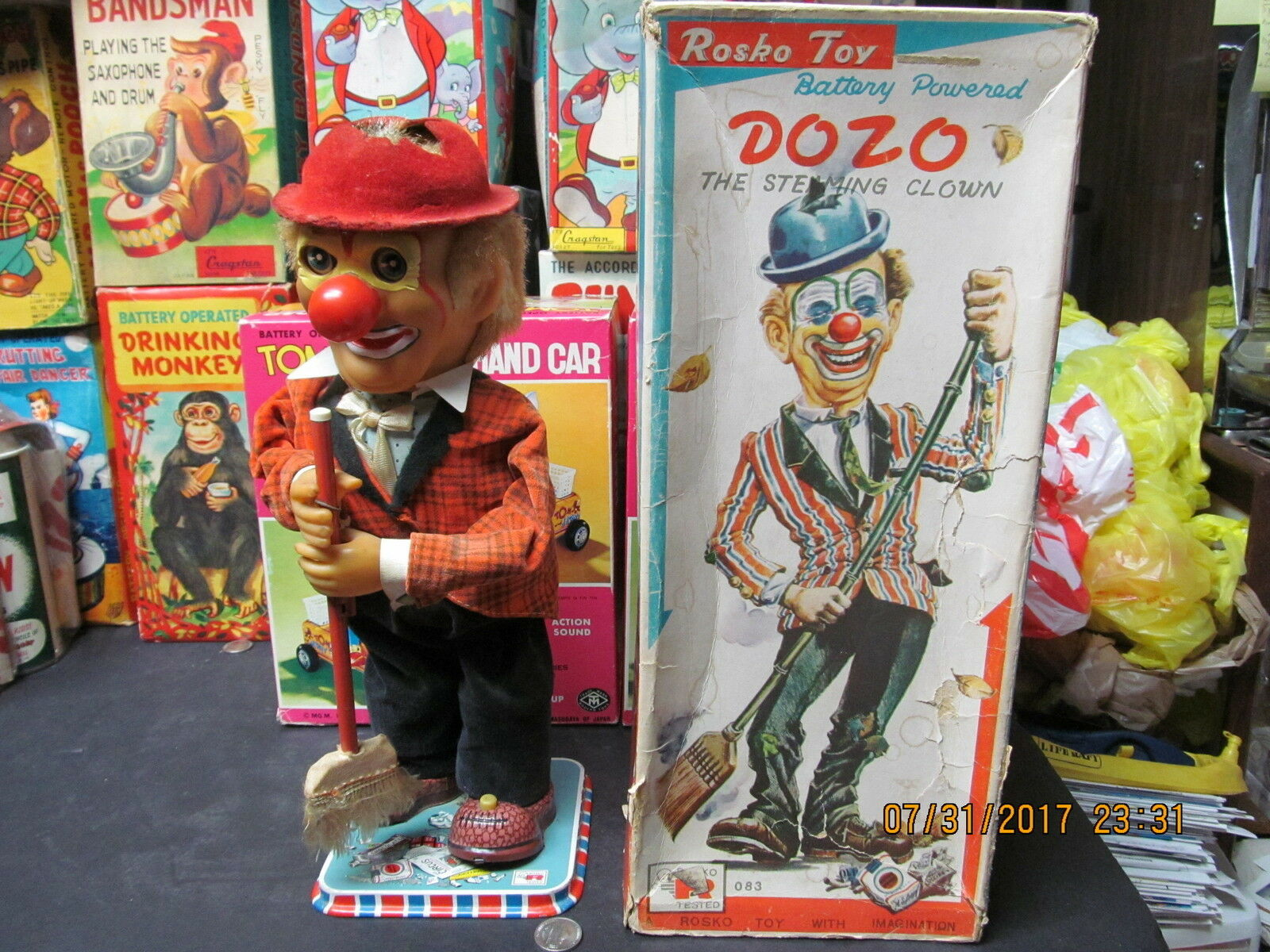 DOZO THE STEAMING CLOWN BATTERY OPERATED IN BOX EXC WORKS TN JAPAN 1960