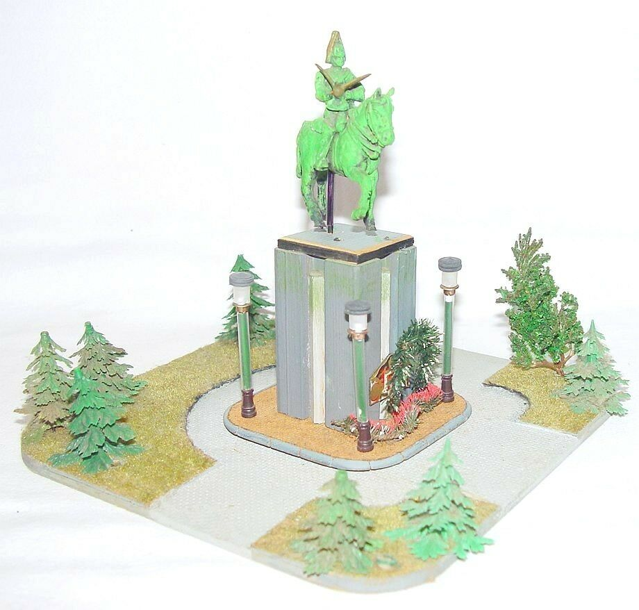 Hecho a mano Ho 1 87 costumbre construido ciudad británica Plaza & estatua conjunto listo modelo construido