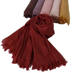 Women-Soft-Cotton-Linen-Scarf-Muslim-Hijab-Scarves-Head-Wraps-Plain-Headscarf