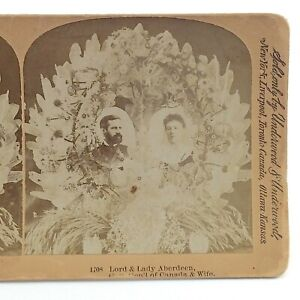 Underwood-Lord-Lady-Aberdeen-Stereograph-Card-Slide-3D-Real-Photograph-RP-J063