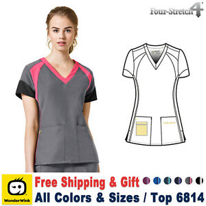 c582f9e61e6 WonderWink Scrubs 4 STRETCH Women's Color Block V-Neck Top_6814 | eBay