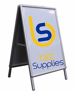 Double-Sided-Snap-A-Frame-90x60cm-Aluminium-Signs-Posters-Pictures-Display-Board