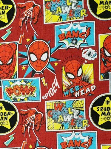 Spider-man fabric UK fat quarter 56cm x 50cm approx 100/% cotton material web sli