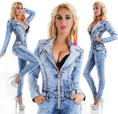 Women's Denim Jumpsuit Light Blue Wash Skinny Legs Jeans Overall Zips Size 6-14
