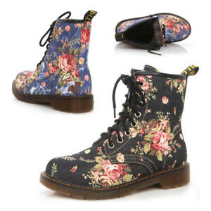 Women-Low-Heel-Martin-Shoes-Floral-Print-Ankle-Boots-Lace-Up-Fashion-New-Casual