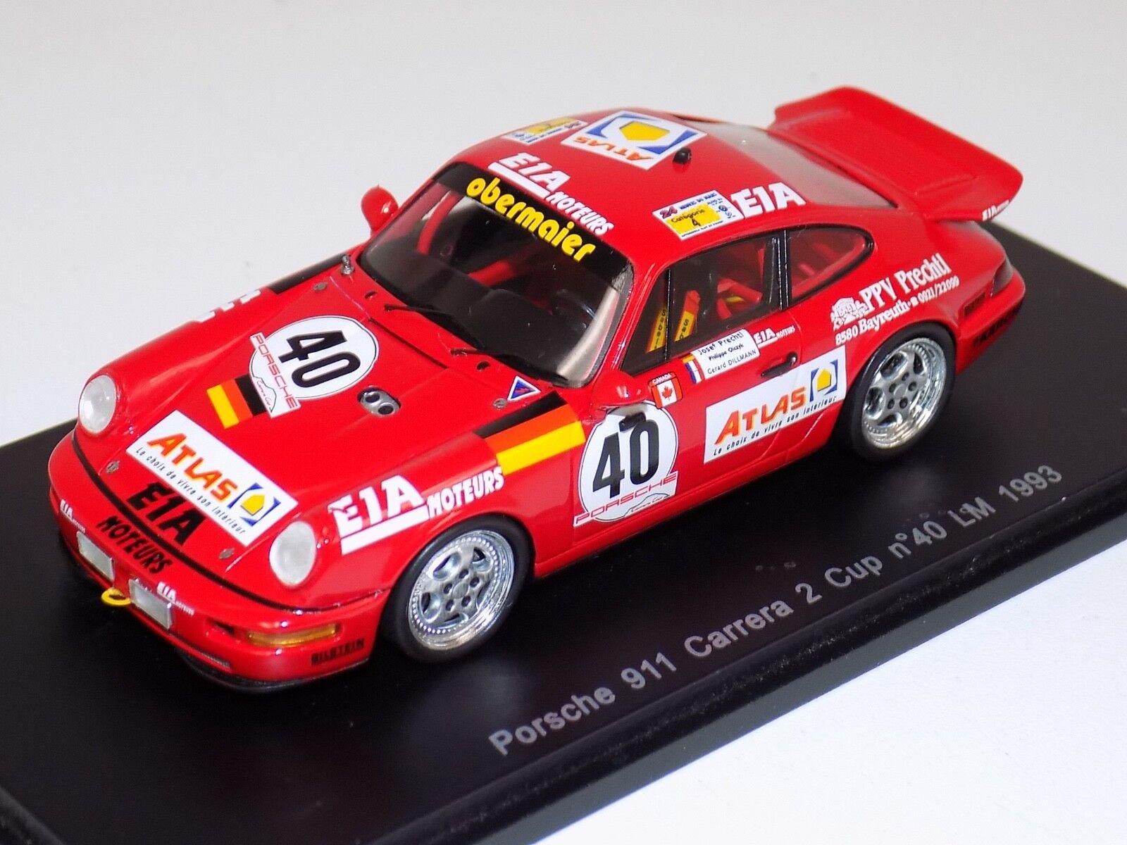 1 43 SPARK PORSCHE 911 Carrera 2 Coupe Voiture  40 de 1993 24 H LeMans S2070