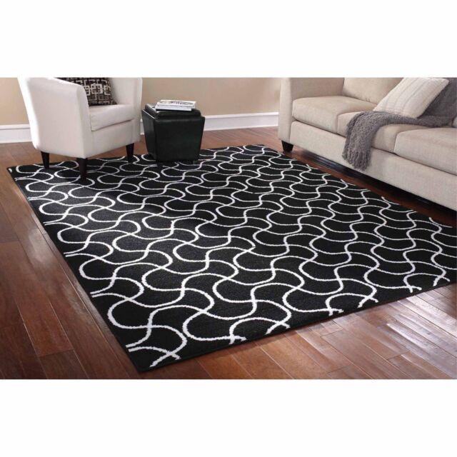 8 X 10 Indoor Black White Area Rug Mat Carpet Living Room Contemporary Decor