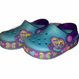 Crocs Butterfly Light Up (fonctionne) Taille 8 Enfants Aqua Violet Slip On Hearts filles