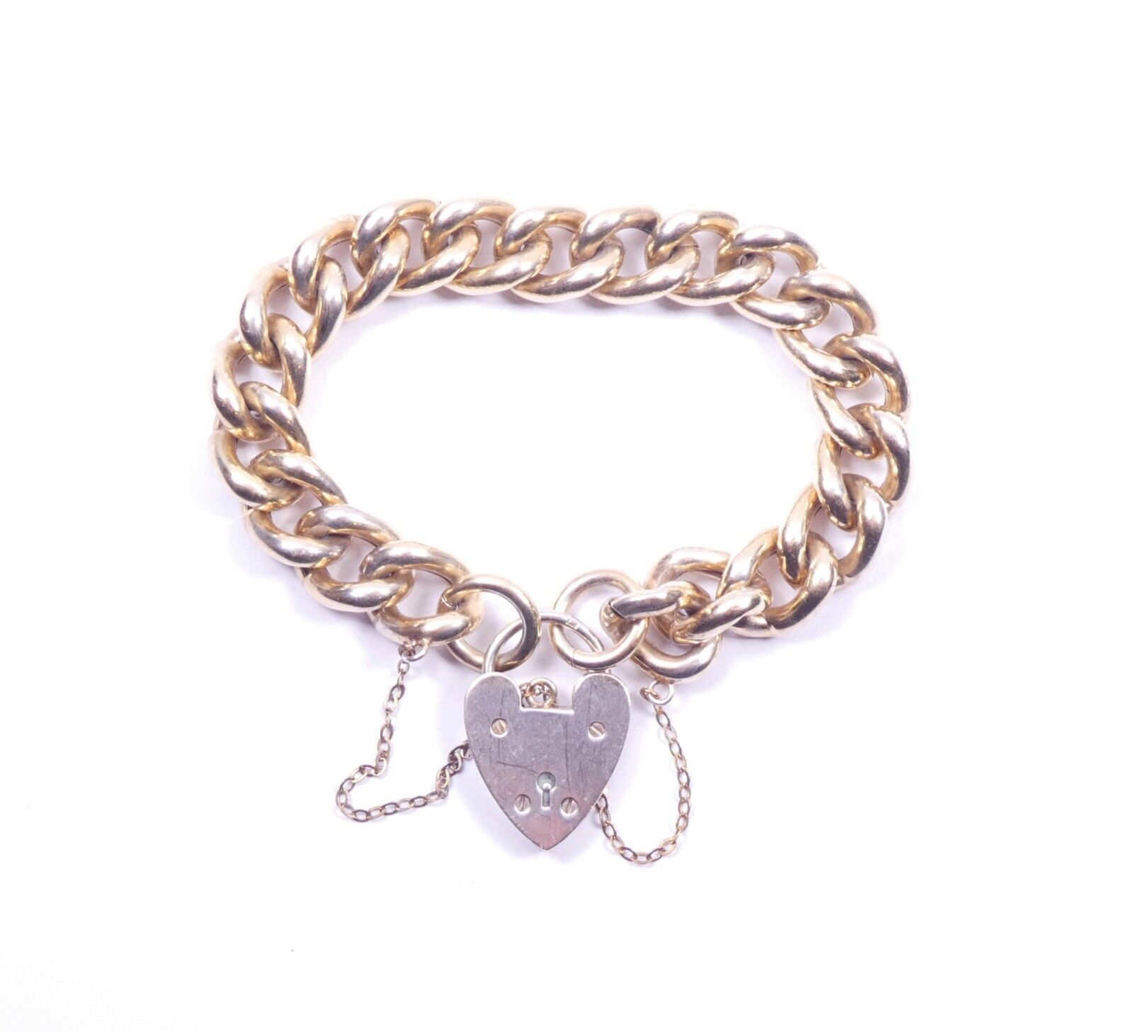 VINTAGE Bracciale con Charm a a a trama grossa Hollow LINK 925 argentoo Sterling 1961 HM 26.3g 7f1381