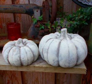 2er set k rbis herbstdeko halloween landhaustil t rdeko gartendeko steinguss neu ebay - Halloween turdeko ...
