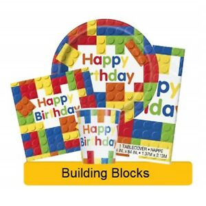 BUILDING-BLOCKS-Birthday-Party-Range-Lego-Tableware-amp-Decorations-UNIQUE