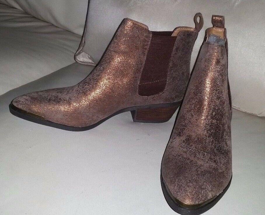 RL Ralph Lauren brown copper gold Metallic-Suede leather boots booties sz, 8.5