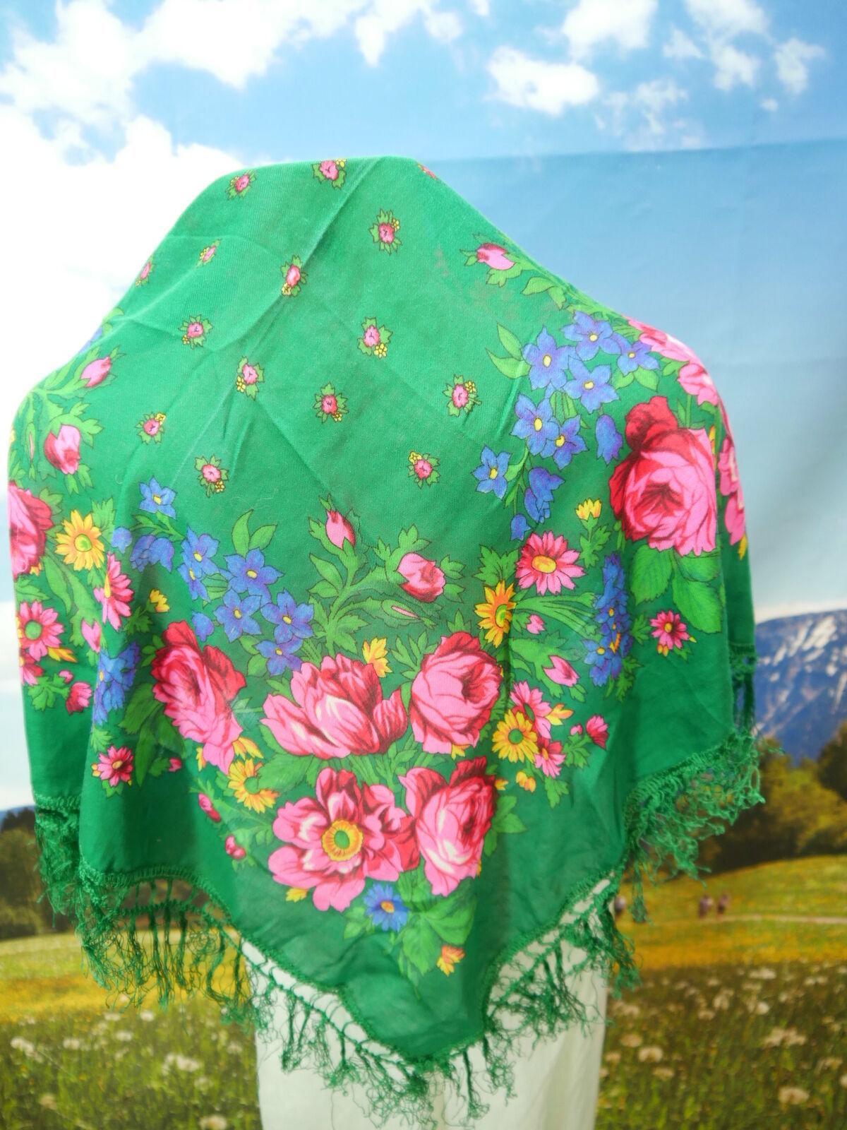 Ausdruckstarkes Fransentuch Polyacryl Dirndltuch mit Blumen Muster TT2120