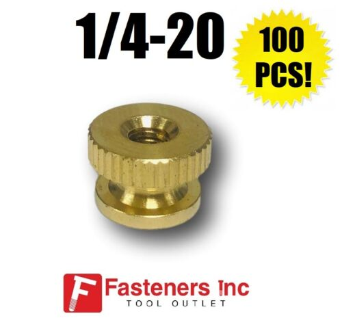 1//4-20 Brass Solid Knurled Thumb Nut UNC Decorative QTY 100