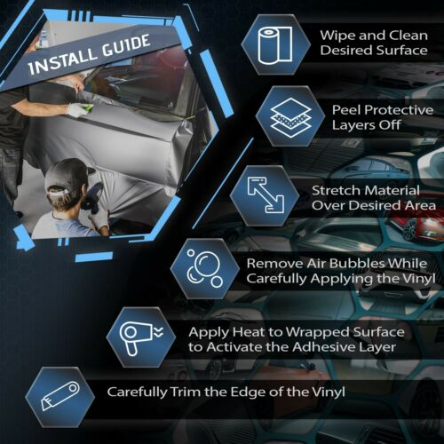 4D Gunmetal Carbon Fiber Premiere Vinyl Wrap Bubble Free Air Release Custom Cut