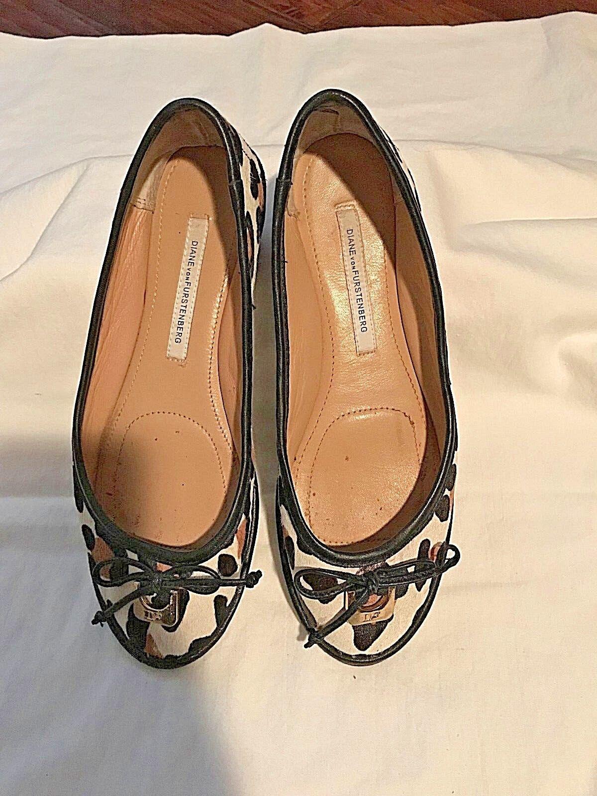 Diane Von Furstenberg Womens 7.5 M Calf Hair Leopard Pumps Heels