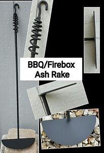 "Outdoor Fireplace//Pit Set-36/"" Poker Round Ash Rake /& Post Made by Blacksmith"