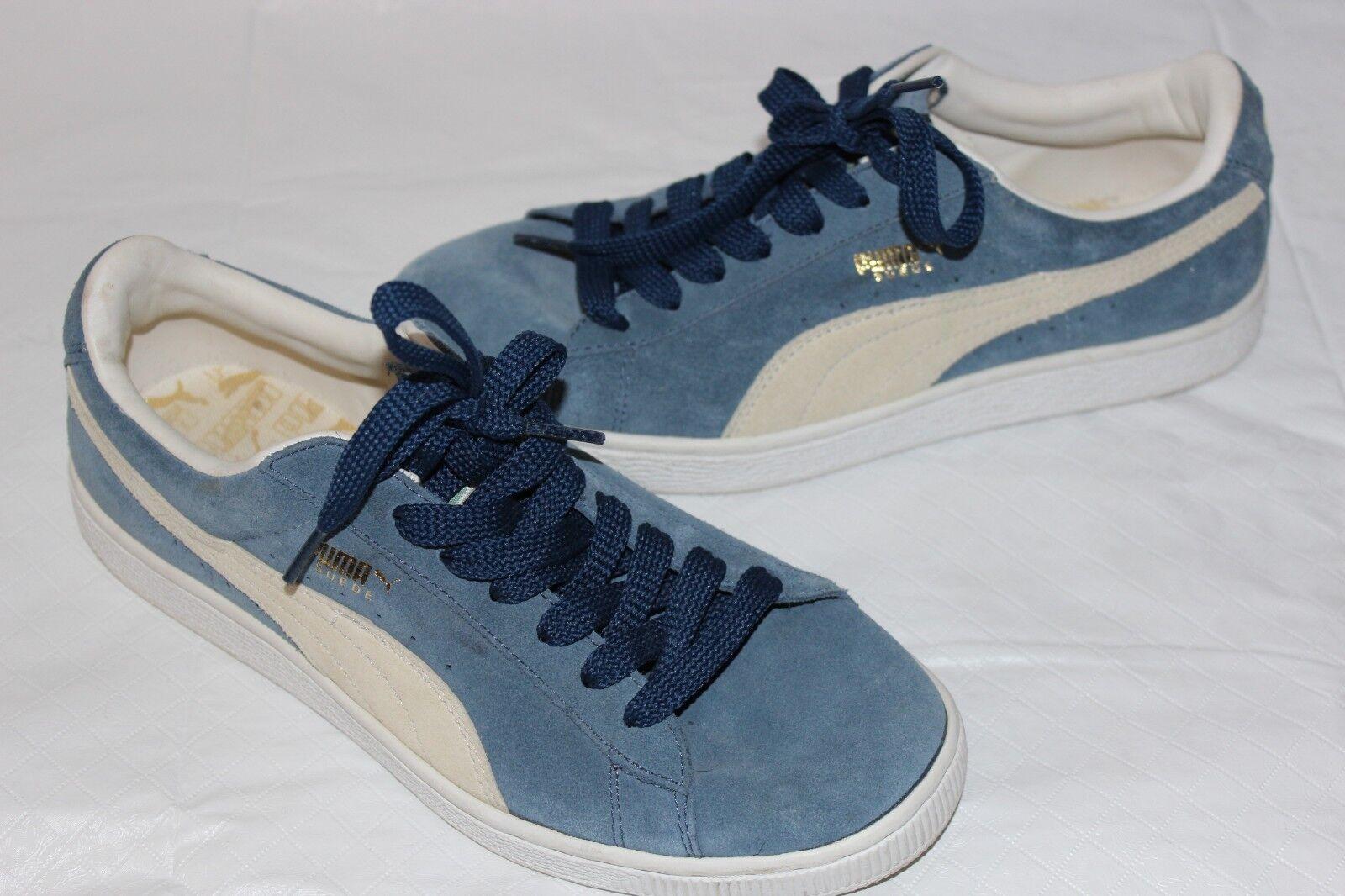 Puma Men's Classic bluee Fog Cream White Suede Sneaker SZ 7