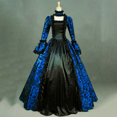 Women Adult Retro Vintage Renaissance Gothic Costume Medieval Gown Long Dress US
